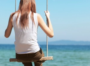 Back of Woman Sitting on Swing by Sea